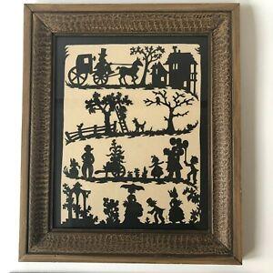 Vtg Scherenschnitte Paper Cutting Folk Art Silhouette Framed Lilitz PA Landis