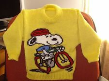 SNOOPY  JUMPER  NEW HAND KNITTED SIZE 4 100% ACRYLIC