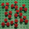 Bulk Lego Pieces: 24 Red Flowers and 8 Green Stems Plants Floral Legos ** NEW **