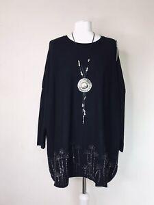 Italian Lagenlook Black Diamante Jumper - UK Size  16 18 20 22