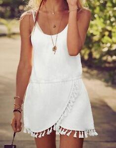 Victoria's Secret White Tassel Fringe Festival Boho Swim Cover-Up Dress~Sz M