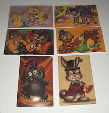 6 Vintage Googley Google eyes eyed postcards with squeakers All Work / Animals