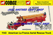 Corgi 1143 American La France Aerial Rescue Truck Poster Leaflet Sign Advert
