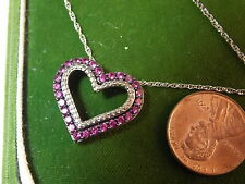 "Sterling Silver Japanned Heart Pendant Hot Pink Rhinestone 18"" Necklace 2a 20"
