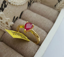 Beautiful African Ruby 1.25 ct solitaire ring 14k gold O/L Sterling silver 'T'