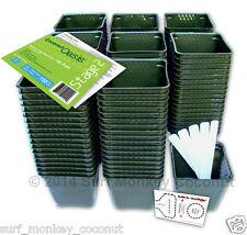 150 Plastic Nursery Plant Pots Kit w/ 10 Seedling Labels, Growing Guide Seed Crd