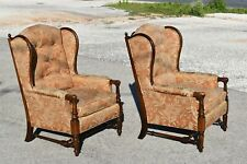 TWO OF A KIND!!! VTG ETHAN ALLEN TRADITIONAL CLASSICS LADDERBACK WINGBACK CHAIRS