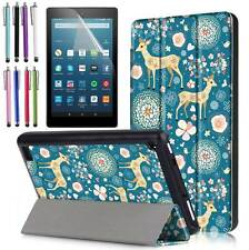 "Slim-Fit Leather Folio Cover Case For All-New Amazon Fire 7"" Tablet 2017 7th Gen"