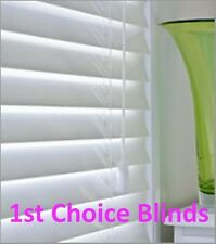 MADE TO MEASURE WOODEN VENETIAN WINDOW BLIND WHITE REAL WOOD 50MM SLAT CHILDSAFE