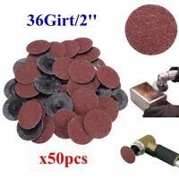 """50x 2"""" Schleifscheiben Fiberschleifscheiben Klettscheiben 50mm 36 Grit für ROLOC"""