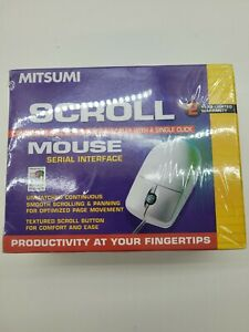 New Vintage Mitsumi Scroll Mouse Windows 95 PC White Wired Computer Mouse
