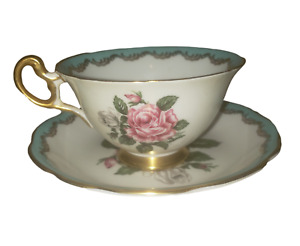 E. B. Foley Bone China Tea Cup & Saucer #3987 Rose Pattern Made In England tc46