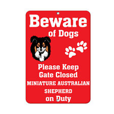 Miniature Australian Shepherd Dog Beware of Fun Novelty Metal Sign
