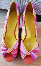Nine West Chill Pill Chillpill Wedge Pink Stripes Peep Toe Heels size 6.5 EUC