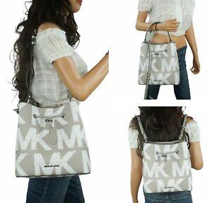 Michael Kors Suri Large Graphic Logo Bucket Convertible Backpack MK Grey White