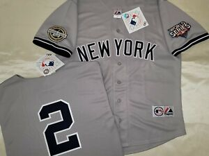 1304 Majestic 2009 World Series New York Yankees DEREK JETER Sewn JERSEY Gray