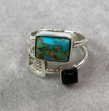 Jay King DTR Sterling Silver Ring w/ Turquoise & Onyx, Size 7