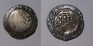 CHARLES I GB SILVER SIX PENCE FINE CONDITION 444-4