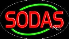 "Brand New ""Sodas"" 30x17 Oval Solid/Flashing Real Neon Sign w/Custom Option 14299"