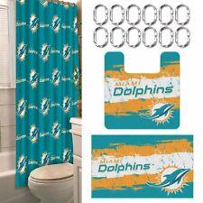 Miami Dolphins NFL 15 Piece Rug Shower Curtain Bath Set