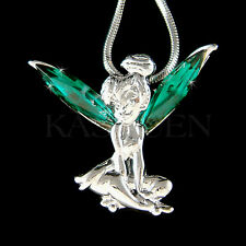 w Swarovski Crystal ~Emerald Green Tinkerbell~ Tinker Bell ANGEL Wings Necklace
