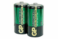 2 X Size C GP Greencell Zinc Carbon Batteries Lr14 Mn1400