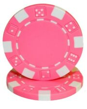 100 Pink Striped Dice 11.5g Clay Poker Chips New - Buy 3, Get 1 Free
