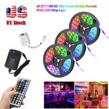 50FT 3528 15M RGB LED SMD Strip Light Fairy Lights Room Party Bar Power Tape Kit