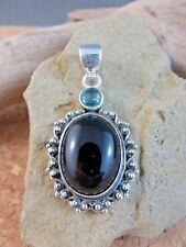 Large Natural Genuine Black Onyx & Blue Topaz Sterling Silver 925 Pendant  #570