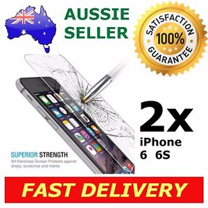 2x iPhone 6 6s Screen Protector 9H Premium Tempered Glass Shatter Proof Apple AU