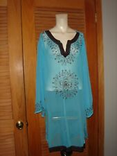 Alki'i New Turquoise Sheer Gauze Beach/Pool/Swim Embroidered Cover XL #9101