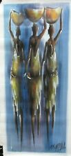 H K MATHLELS THREE AFRICAN WOMEN CARRYING BOWLS ORIGINAL OIL CANVAS PAINTING