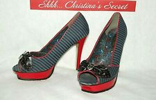 IRON FIST Womens Heels Peep Toe Platform Striped Blue Black Red Sz 8 /39 * VG