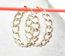 Hoop Earrings Real 10K Yellow Gold Unique High Polished Round Curb Link