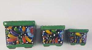 Talavera style mexican pottery, 3 Mini Pots ,Planter pots, Succulents, Cactus