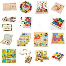 Wooden Tangram Brain Teaser Puzzle Tetris Game Children Play Wood Toy 16Styles C