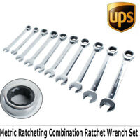 Professional 10pc Combination Ratcheting Ratchet Wrench Set Metric MM 6-18mm USA