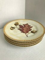 Set Of Four Crate & Barrel Salad Plates With Fall Leaves And Gold Accents
