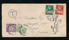 POSTAGE DUE 1929 GB from SWITZERLAND 3d + 1/2d IRELAND BELFAST