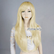 Light Blond 70CM Long Basic Anime Women Girls Cosplay Wavy Heat Resistant Wig