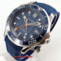 41mm bliger blue dial GMT sapphire glass date Mechanical automatic mens watch