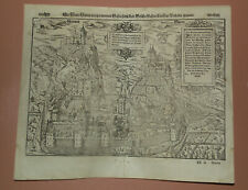 1574 Antique woodcut town view of Sion, Sitten, Valais. Sebastian Münster