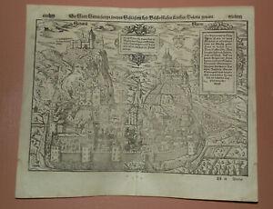 1574 Antique woodcut town view of Sion, Sitten, Valais. Sebastian Münster