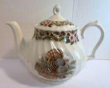 Vintage THANKSGIVING TURKEY TEA POT QUEENS MYOTT FACTORY Porcelain Archive Illus