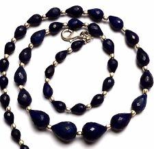 "Natural Gem Dark Blue Sapphire Facet 5x7 to 9x13MM Drop Shape Beads Necklace 18"""