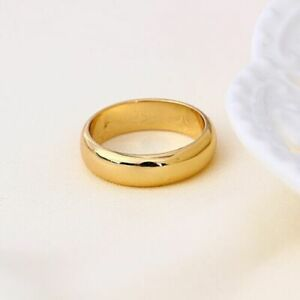 "9ct 9K Yellow ""Gold Filled"" Men Women Plain Wide Wedding Band Ring All Sizes"