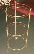 Mid Century Modern Table Round 3 Tier Glass Twisted Legs Plant Stand Bar Stand
