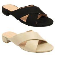 Womens Ladies Crossover Low Heel Mules Sandals Peeptoe Shoes Size 3 4 5 6 7 8