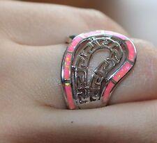 blue pink fire opal ring gems silver jewelry Sz 7 8 Roman Greek Key Paisley