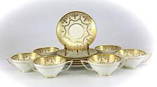 12pc Set Minton Porcelain Gold Encrusted Cream Soup & Saucers; Retailed by Birks